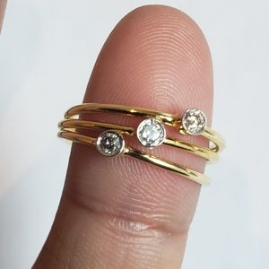 Real diamond solitaire 10k gold stackable ring